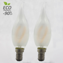 2W 2700K Warm White Curved Spiral Filament Vintage Edison Lamp Frosted Led Candle Bulb Lights E14 E27