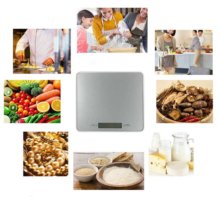 LCD 5kg Electronic multi-function glass kitchen scale with timer and temperature