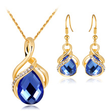 Fashion gold plated necklace and earring sets jewelry women wedding crystal necklace sets