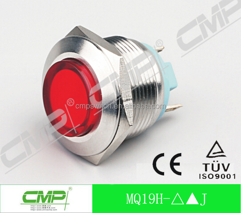 19mm waterproof metal indicator light low voltage led signal lamp