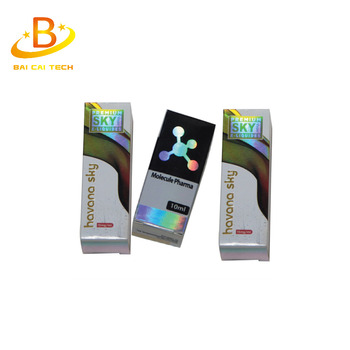 2017 high quality custom made folding packaging printing gloss paper medicine hologram vial box