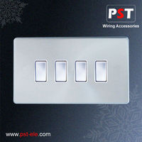 10A 4 Gang 1 Way Chrome Button Switch