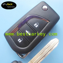Topbest modified flip keys with 3 buttons key shell TOY48 custom car flip key