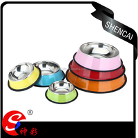 Colorful pet product animal feeds dog basin/ cat stainless steel pet bowl