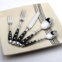 Brilliant BC2086 Vintage Flatware with Black Wood Handle and Two Rivets Stainless Steel Silverware