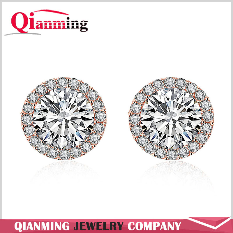 Fashion Jewelry Zirconia Diamond Round Stud Earrings Women white Gold Plated Vintage Wedding Earrings Charm Wholesale Dropship