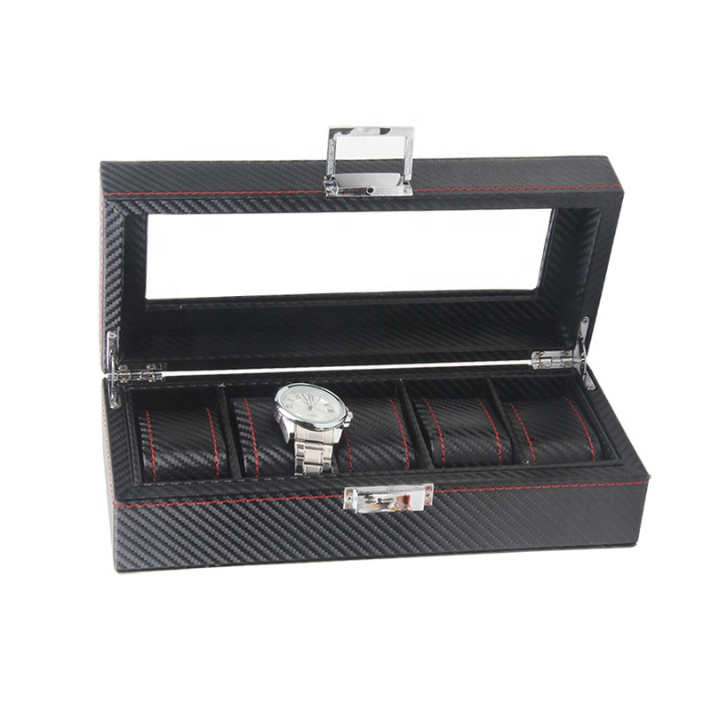 luxury carbon fiber best quality 5 slot watch display box handmade case stock wholesale <strong>W110</strong>
