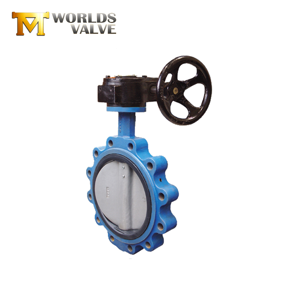 SUS304 SUS316 worm gear drive lug butterfly valve