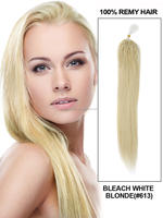 Bleach blond 18-20-22 100 strands silky straight micro loop Indian remy human hair