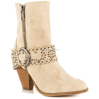 JUSITY 2015 High Quality Fashion Beige Suede Women Low Heel Sexy Boots for Sale