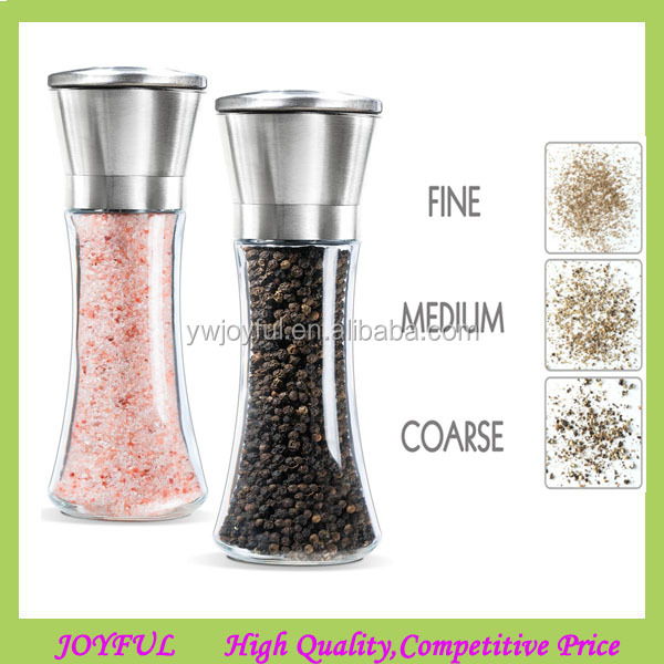 Stainless Steel Salt and Pepper Grinder Set - Stainless Steel Pepper Mill and Salt Mill, Glass Slim Body