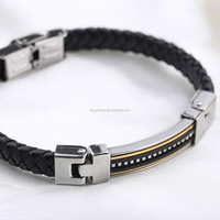 European Most Popular Mens Leather Jewelry Magnetic Bracelet