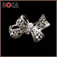 Lady Bow Wedding Silver Plated clear Rhinestone Crystal Bridal Brooches