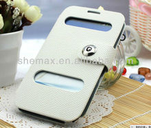 New Updated Dual Window Case For Note2 N7100 Leather