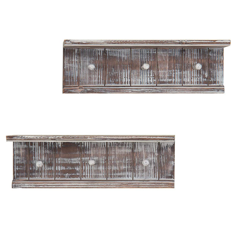 High quality wood rustic floating shelves set of 3 for home