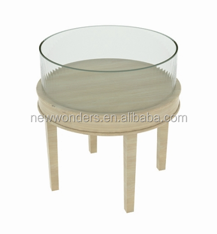 Round glass display stand wood display table jewelry store fixture