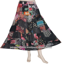 2013 Women Cotton Patchwork Long Skirt Gypsy Hippie Skirts With Patch Work Designer Indian skirt