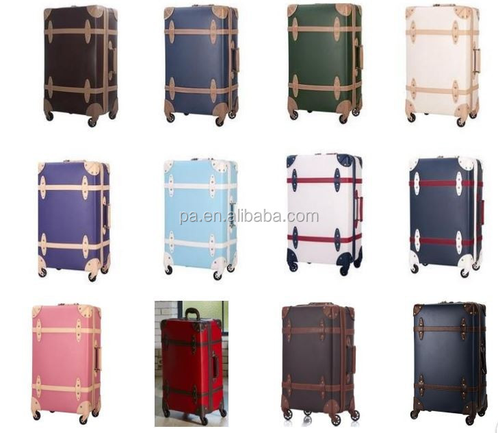 new style pp+pvc material vintage luggage with tsa lock