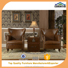 European vintage chesterfield retro pure oxhide genuine Leather Sofa chair furniture