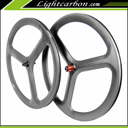 2016 LightCarbon 50mm road 3 spoke clincher wheels 700c carbon bicycle Pro wheel wholesale TRI-SPOKE-3S-50