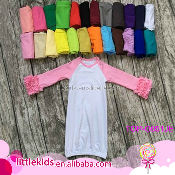Baby Sleep Gown Plain Cotton Baby Romper Gown Dress Fall Long Sleeves Icing Ruffle Raglan Gown