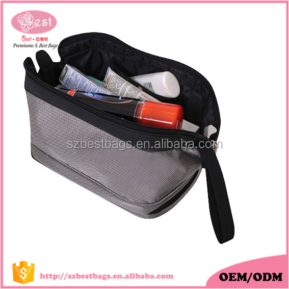 Deluxe Travel Kit Polyester with Double zipper closure Rfillable travel bottle cosmetic storage Bag two compartment travel kit