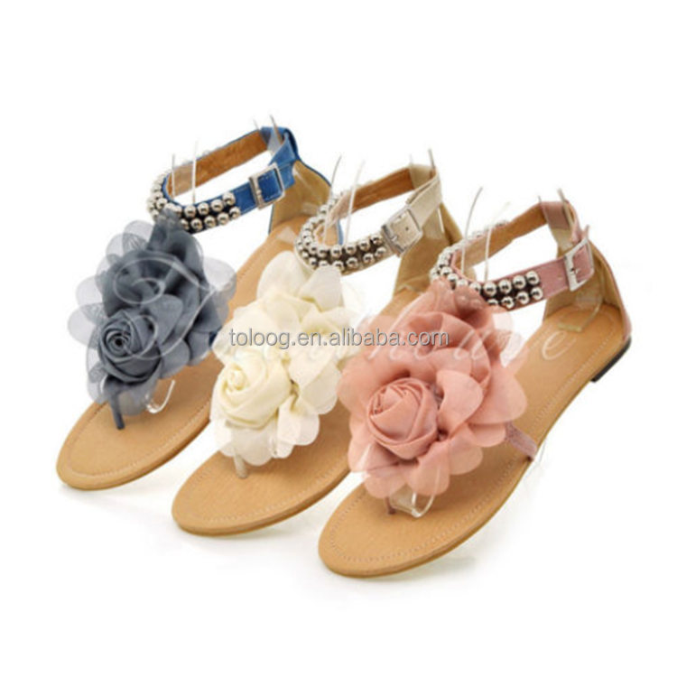 Women Summer Dress Shoes Sexy Heels Women's Fashion Flat Floral Sandals Leather