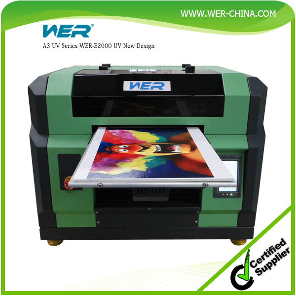 Hot selling A3 WER E2000 UV led printer for printing any hard materials free rip software CE approved, uv printer
