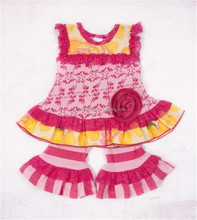 children's hot pink ruffles cloth kids summer wear for wholesale