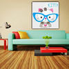China company little cat with glasses kids dry erase canvas boards painting