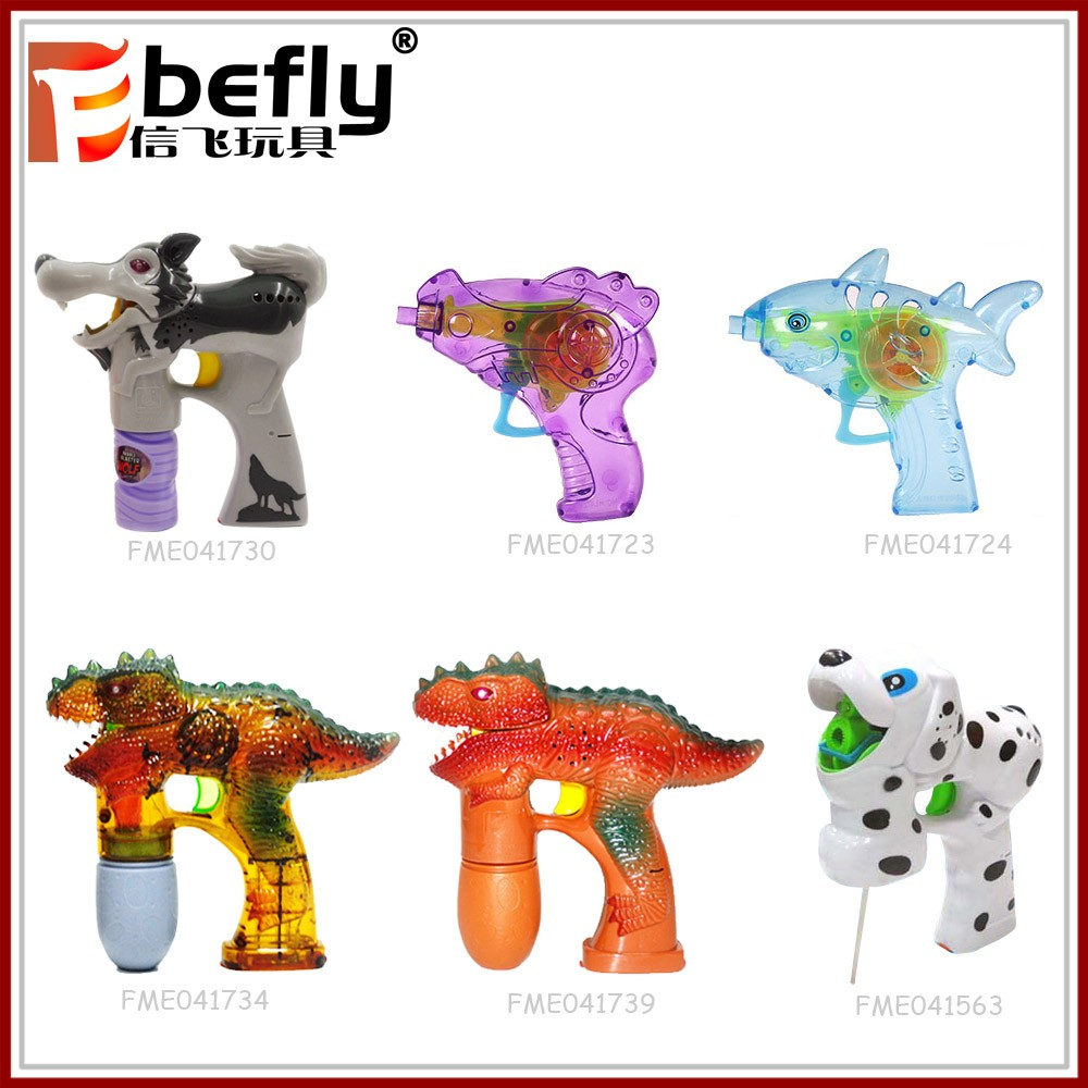 Wholesale outdoor play set plastic animal dinosaur bubble gun for kids