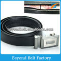 Men's Travel Black Genuine Leather Money Belt with Slide Buckle Sizes 32 through 50