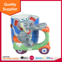 3D handpainted animal elephant shape motorcycle cup
