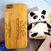 Real bamboo wood phone shell natural carved wooden case protective hard phone covers for iPhone 5