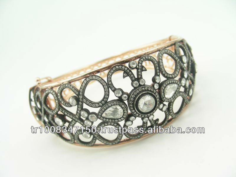 8K 14K 18K Gold Rose Cut Diamond Bracelet Classic Jewelry