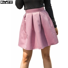 81218#5 Color All-match High Waist Faux Silk Pleated Mini Skirts Fashion European & American Streetwear Girls Party Skirt