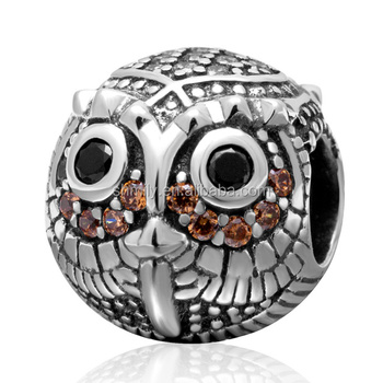 Zircon Micro Pave Owl 925 Sterling Silver Big Hole Round Charm Beads Fit European Bracelet Necklace DIY Fine Jewelry SZPB222