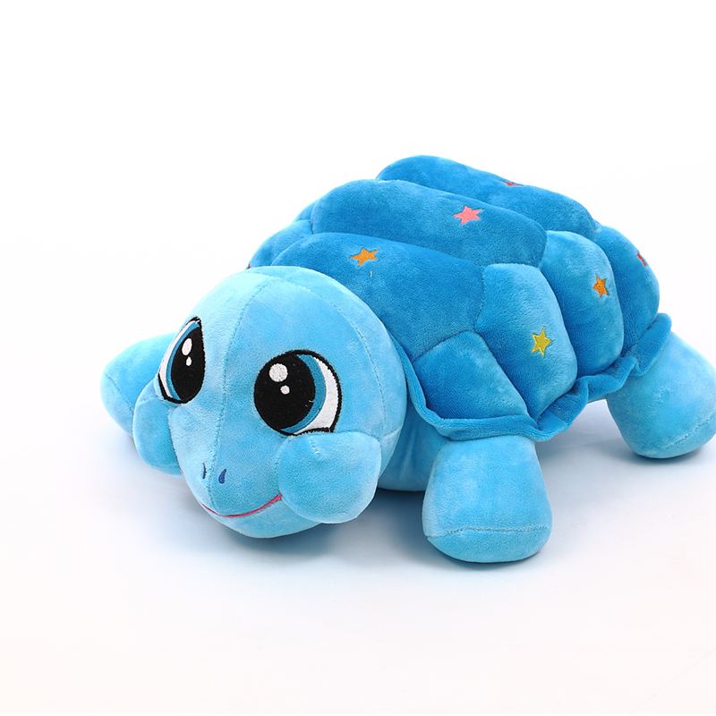 35cm/45cm/60cm beautiful customized stuffed blue plush multicolor turtle animal toy with embroidery five-pointed star on back