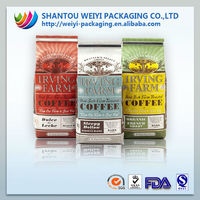 custom printing side gusset al foil standing drip coffee beans bag with tin tie