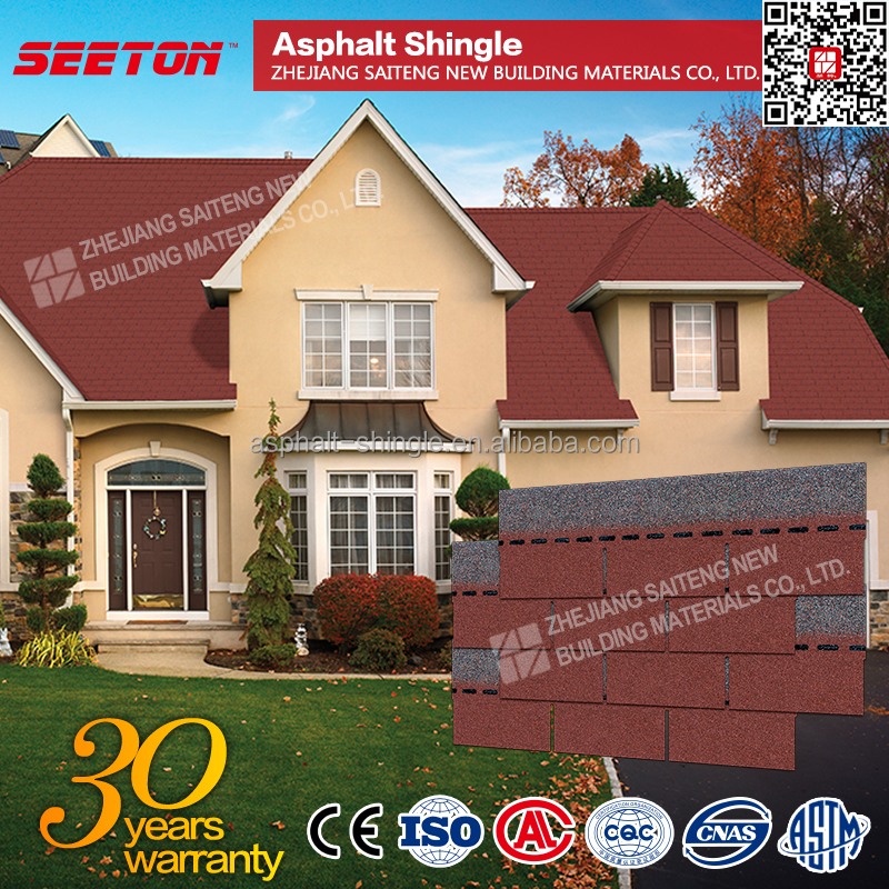 China Red Cheap Fiberglass Asphalt Shingles Roof tiles