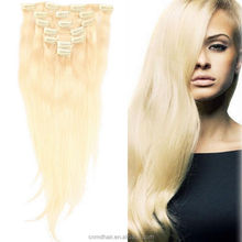 "18"" 20"" 22"" 100g Indidan Remy Full Head Clip in Human Hair Extension 613 Bleach Blonde"