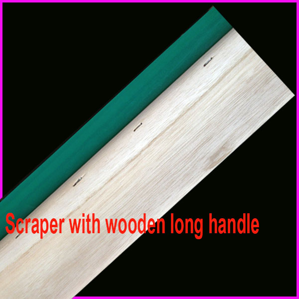 scraper with wooden long handle