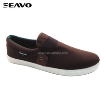 SEAVO SS17 fashion elastic band stylish men no lace tan color casual canvas shoes