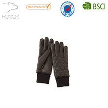 checked leather glove with knit wrist