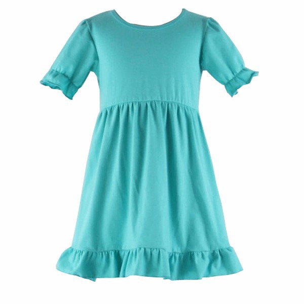 Boutique 2016 baby fancy frock design for kids solid teal ruffle smock dress blank ruffle baby dress hot sale cheap easter dress