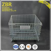 New design warehouse storage steel metal cage workshop foldable wire mesh container