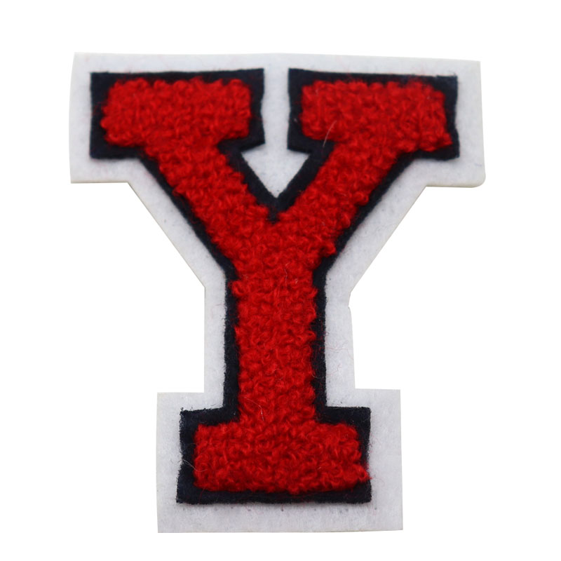 Custom cheap red letter <strong>Y</strong> pattern chenille embroidery patch for clothes/<strong>Caps</strong>/bags