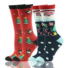 Wholesale Custom Winter Warm Long Printing Cotton Tube Reindeer Christmas Socks Women