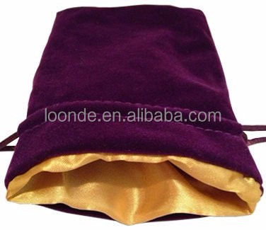 "Luxury 4""x6"" purple velvet dice bag with gold satin lining"