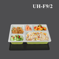 Disposable PP Plastic 5 Compartment Food Container Tray for Lunch Takeaway Restaurant Hotel Home Usage with Lid